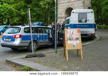 BERLIN - MAY 09, 2015: Numerous police officers ensure order and peace at the event.