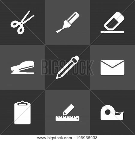 Collection Of Rubber, Sticky, Mail And Other Elements.  Set Of 9 Instruments Icons Set.