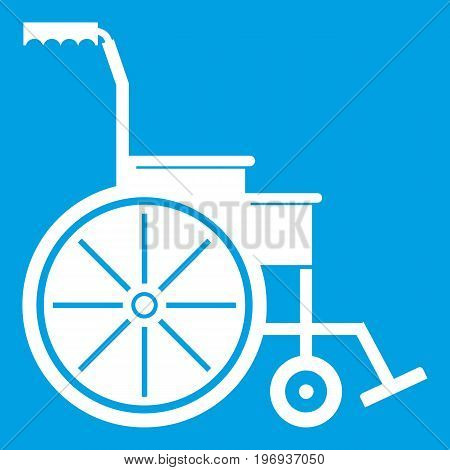 Wheelchair icon white isolated on blue background vector illustration