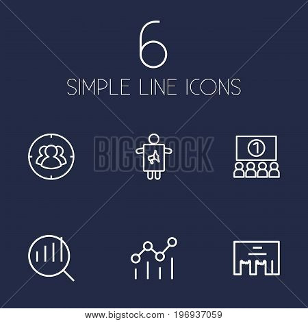 Collection Of Worker, Campaign, Research And Other Elements.  Set Of 6 Advertising Outline Icons Set.
