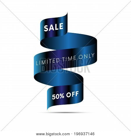 Sale banner limited time only fifty percent off white text on blue ribbon isolated on white background. Vector illustration.