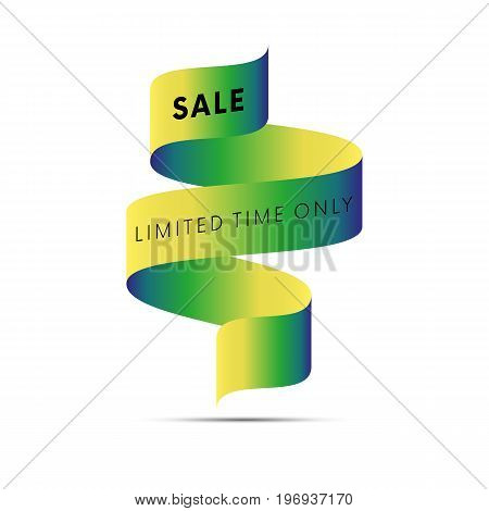 Sale banner limited time only black text on yellow and blue gradient ribbon isolated on white background. Vector illustration.