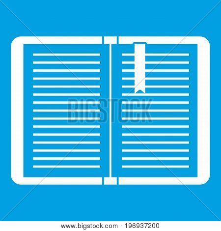 Open tutorial with bookmark icon white isolated on blue background vector illustration