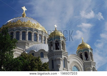 Travel to the Holy places. The beautiful Naval Cathedral of Saint Nicholas in Kronstadt, Saint Petersburg, Russia