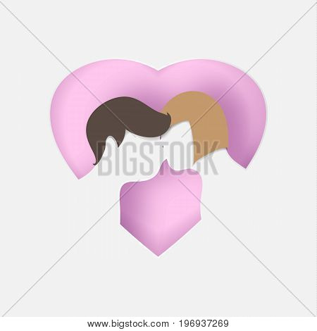 Young people are kissing in the  pink background, heart shape.paper art vector illustration