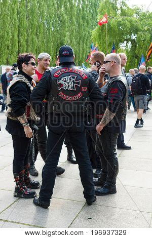 BERLIN - MAY 09, 2015: Bikers from the club