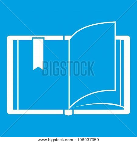Open book icon white isolated on blue background vector illustration