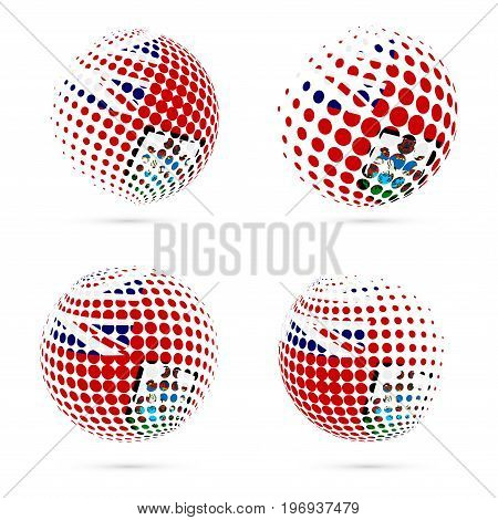 Bermuda Halftone Flag Set Patriotic Vector Design. 3D Halftone Sphere In Bermuda National Flag Color