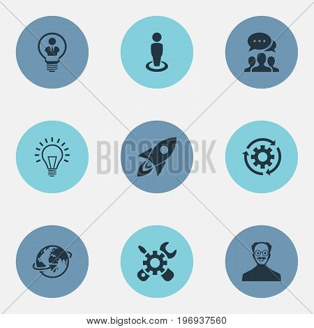 Elements Renovation, Invention, Missile And Other Synonyms Invention, Recycle And Location.  Vector Illustration Set Of Simple Creative Icons.