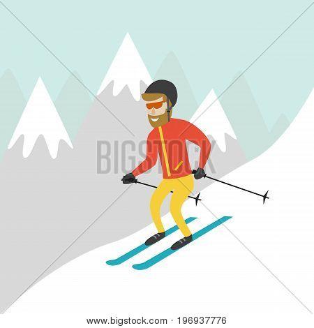 Ski resort illustration with skier and mountains. Design for web tourist catalog placard brochure flyer booklet etc. Vector illustration.