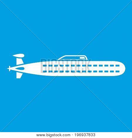 Submarine icon white isolated on blue background vector illustration