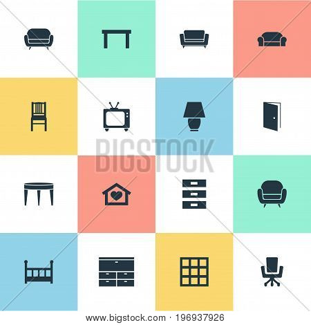 Elements Dwelling, Tv, Seat And Other Synonyms Container, Locker And Home.  Vector Illustration Set Of Simple Furniture Icons.