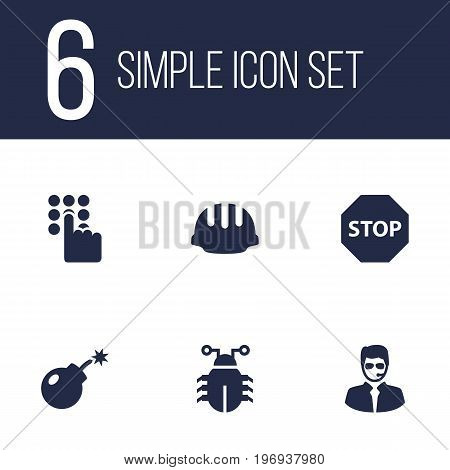 Collection Of Sign, Security Man, Virus And Other Elements.  Set Of 6 Safety Icons Set.