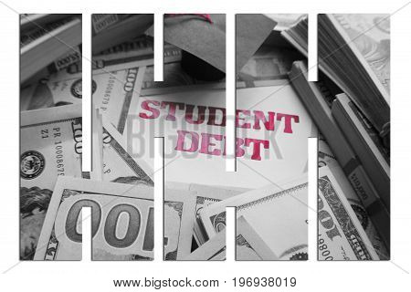 Student Debt With Bars & Money High Quality