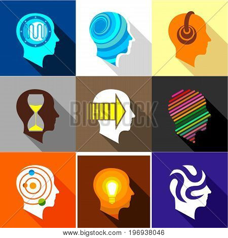Human head logo icons set. Flat set of 9 human head logo vector icons for web with long shadow