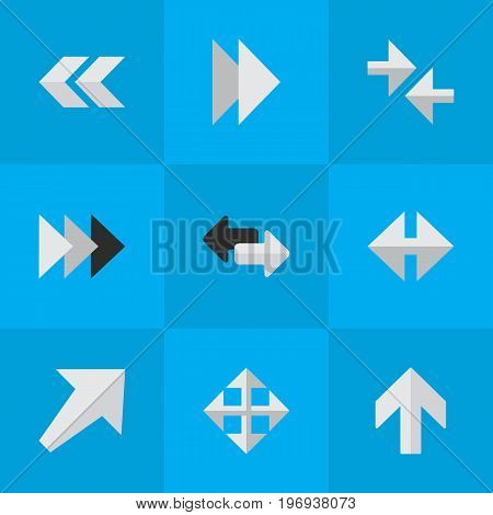 Elements Indicator, Widen, Onward And Other Synonyms Upward, Export And Widen.  Vector Illustration Set Of Simple Cursor Icons.
