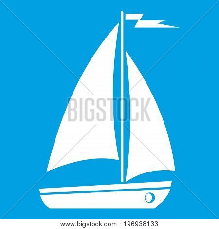 Boat icon white isolated on blue background vector illustration