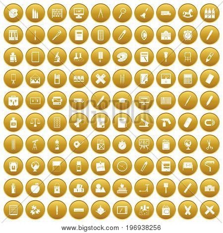 100 stationery icons set in gold circle isolated on white vector illustration