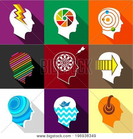 Different man heads icons set. Flat set of 9 different man heads vector icons for web with long shadow