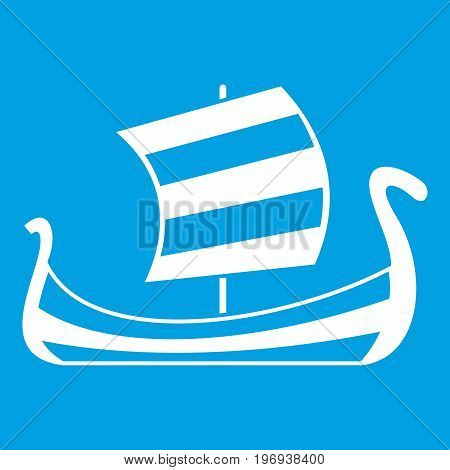 Medieval boat icon white isolated on blue background vector illustration