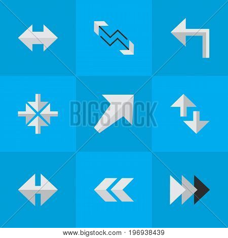 Elements Inside, Cursor, Indicator And Other Synonyms Turn, Left And Boom.  Vector Illustration Set Of Simple Pointer Icons.