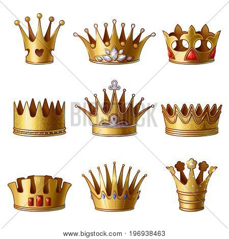Cartoon royal gold crowns collection of different shapes with gems and jewels isolated vector illustration