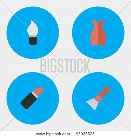 Elements Pomade, Brush, Scrub And Other Synonyms Dress, Garment And Brush.  Vector Illustration Set Of Simple Beauty Icons.