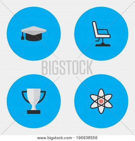 Elements Molecule, Goblet, Armchair And Other Synonyms Academic, Award And Nuclear.  Vector Illustration Set Of Simple Education Icons.