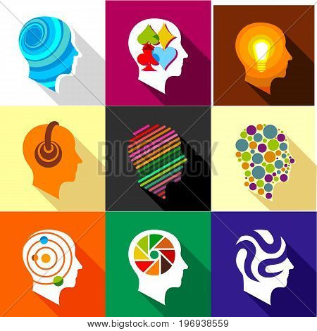 Creative mind icons set. Flat set of 9 creative mind vector icons for web with long shadow