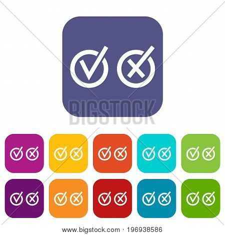 Signs of choice of tick and cross in circles icons set vector illustration in flat style in colors red, blue, green, and other