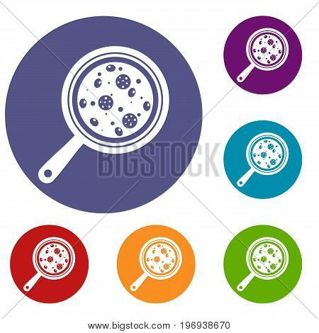 Pizza with ingredients on board icons set in flat circle red, blue and green color for web
