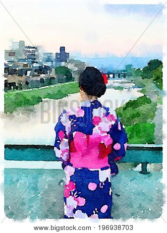 Digital watercolor painting of a lady dressed in a Kimono standing on a bridge in Kyoto Japan.