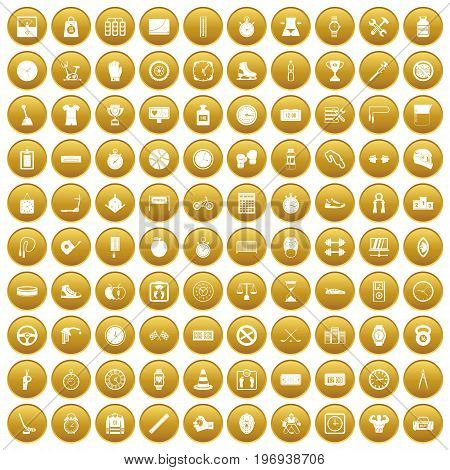 100 stopwatch icons set in gold circle isolated on white vector illustration