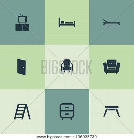 Elements Easychair, Elegant Style, Sunbathing And Other Synonyms Bed, Stairs And Vintage.  Vector Illustration Set Of Simple Furniture Icons.