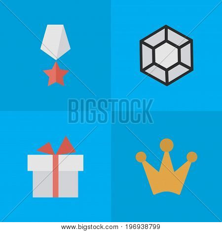Elements Brilliant, Corona, Present And Other Synonyms Gift, Diamond And Precious.  Vector Illustration Set Of Simple Reward Icons.