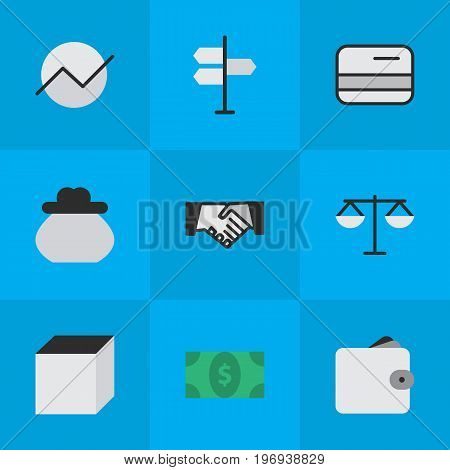 Elements Agreement, Direction, Wallet And Other Synonyms Diagram, Decision And Pay.  Vector Illustration Set Of Simple Job Icons.