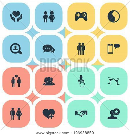 Elements Children, Talk, Add And Other Synonyms Fellows, Search And Community.  Vector Illustration Set Of Simple Mates Icons.