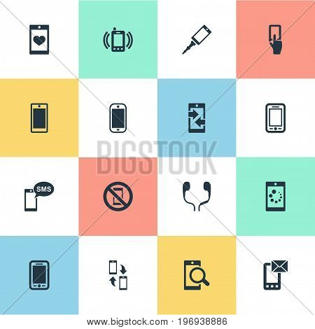 Elements Outgoing Calls, Forbidden, Screen And Other Synonyms Telephone, Sms And Incoming.  Vector Illustration Set Of Simple  Icons.