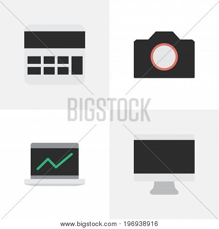 Elements Photo Apparatus, Screen, Accounting And Other Synonyms Apparatus, Monitor And Display.  Vector Illustration Set Of Simple Gadget Icons.