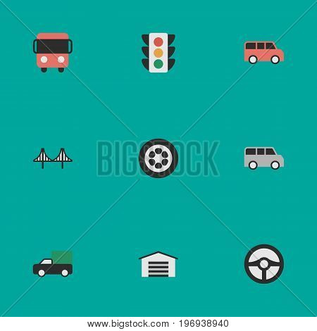 Elements Bridgework, Autobus, Wheel And Other Synonyms Truck, Jumper And Wheel.  Vector Illustration Set Of Simple Traffic Icons.