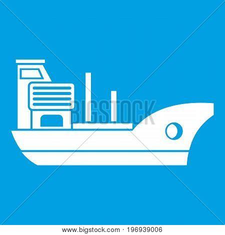 Marine ship icon white isolated on blue background vector illustration