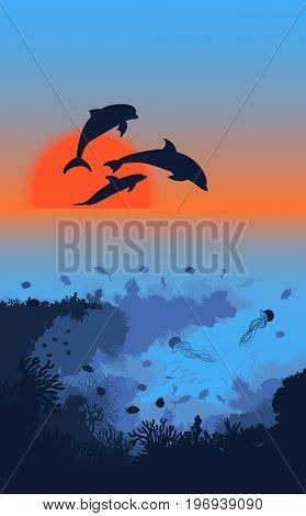 Marine life landscape template with dolphins silhouettes jumping out of ocean and underwater world at sunrise vector illustration