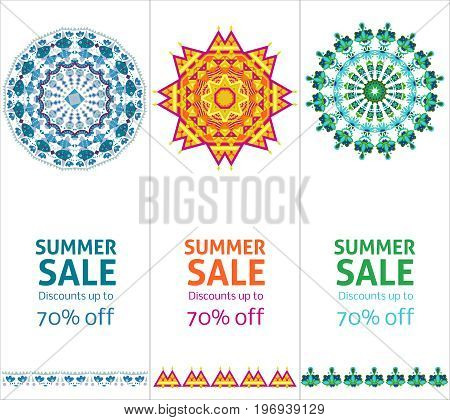 Bright summer sale advertising vertical banners with beautiful colorful suns consisting of repeating traceries vector illustration