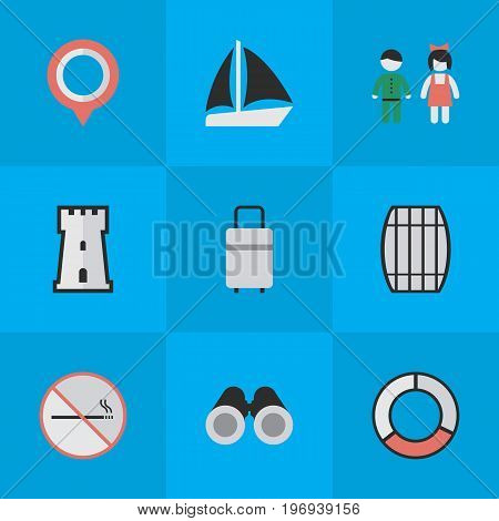 Elements Smoke Forbidden, Baggage, Schooner And Other Synonyms Mark, Bag And Tower.  Vector Illustration Set Of Simple Travel Icons.