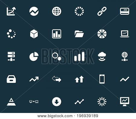 Elements Progress, Internet Server, Download And Other Synonyms Preloader, Link And Card.  Vector Illustration Set Of Simple Business Icons.
