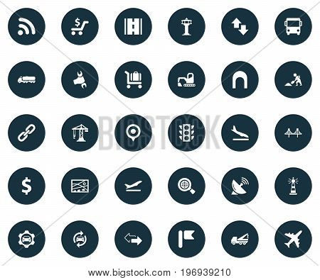 Elements Professional Mechanic, Reverse Directions, Aviation And Other Synonyms Highway, Transport And Aviation.  Vector Illustration Set Of Simple Transportation Icons.