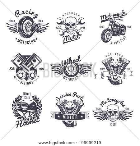Vintage monochrome motorcycle labels set with wheel wings skull bike helmet motor crossed wrenches pistons isolated vector illustration
