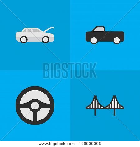 Elements Bridgework, Truck, Steering And Other Synonyms Automobile, Coupe And Car.  Vector Illustration Set Of Simple Shipping Icons.