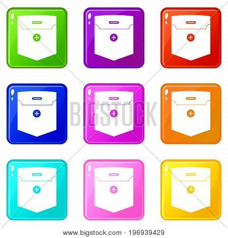 Fashion pocket for shirt icons of 9 color set isolated vector illustration