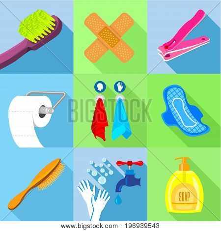 Bath equipment icons set. Flat set of 9 bath equipment vector icons for web with long shadow